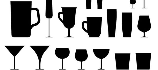 43435311 - set of isolated silhouettes of different glasses. glasses and cups. glass and glass. dishes for alcohol and beverages. empty glasses. alcohol and glass. on a white background