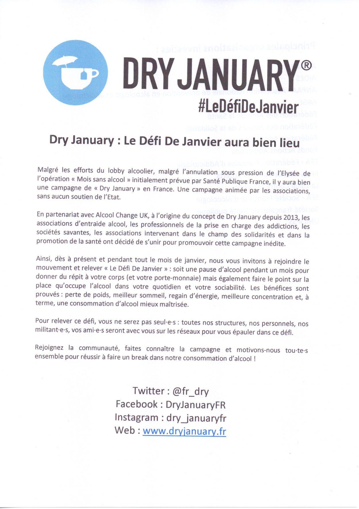 DRY january: Le défi de
